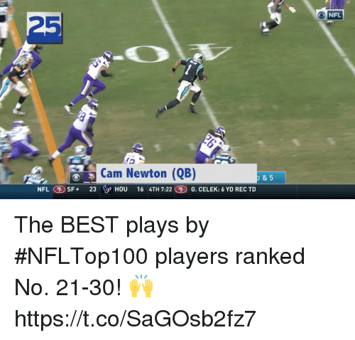 Cam Newton, Memes, and Nfl: NFL  25  Cam Newton (QB)  NFL SF 23 HOU 16 4TH 7:22 G. CELEK: 6 YD REC TD  & 5 The BEST plays by #NFLTop100 players ranked No. 21-30! 🙌 https://t.co/SaGOsb2fz7