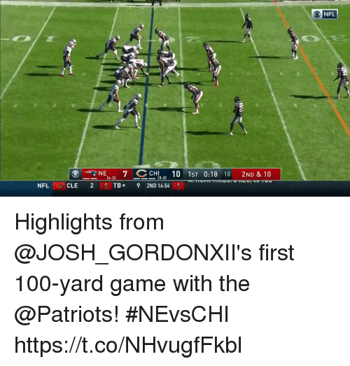 Anaconda, Memes, and Nfl: NFL  39  NE  CH10 1ST 0:18 10 2ND & 10  13-2)  NFL CLE 2  CLE 2  TB. 9 2ND 14:54  ES Highlights from @JOSH_GORDONXII's first 100-yard game with the @Patriots! #NEvsCHI https://t.co/NHvugfFkbl