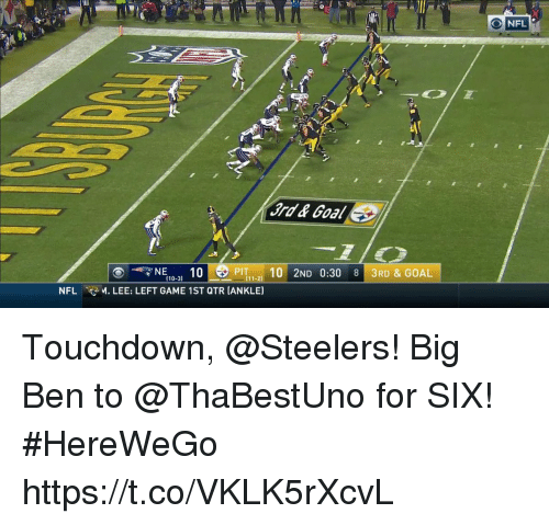 Memes, Nfl, and Game: NFL  3rd& Goal  11-2  (10-31  NFL M. LEE: LEFT GAME 1ST QTR [ANKLE) Touchdown, @Steelers!  Big Ben to @ThaBestUno for SIX! #HereWeGo https://t.co/VKLK5rXcvL