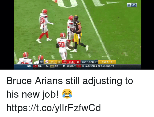 Football, Nfl, and Sports: NFL  50  PIT 0CLE 0 2ND 12:50 39 1ST & 10  NFL TB14  NO 17 2ND 1127  D. JACKSON: 2 REC, 65 YDS, TD Bruce Arians still adjusting to his new job! 😂 https://t.co/yllrFzfwCd