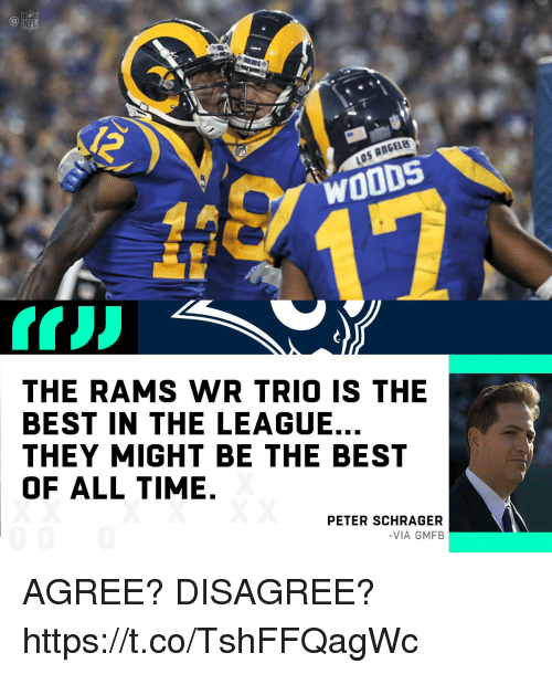 Memes, Nfl, and Best: NFL  ANGELB  THE RAMS WR TRIO IS THE  BEST IN THE LEAGUE.  THEY MIGHT BE THE BEST  OF ALL TIME.  PETER SCHRAGERR  -VIA GMFB AGREE? DISAGREE? https://t.co/TshFFQagWc