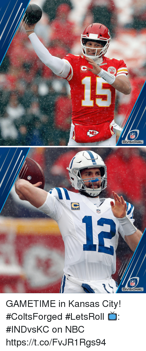 Memes, Nfl, and 🤖: NFL  DIVISIONAL   COLES  NFL  12  NFL  DIVISIONAL GAMETIME in Kansas City! #ColtsForged #LetsRoll  📺: #INDvsKC on NBC https://t.co/FvJR1Rgs94