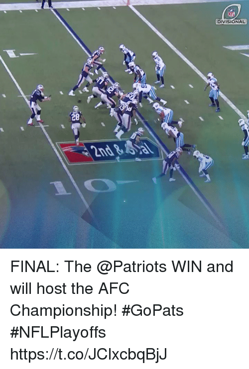 Memes, Nfl, and Patriotic: NFL  DIVISIONAL FINAL: The @Patriots WIN and will host the AFC Championship! #GoPats #NFLPlayoffs https://t.co/JClxcbqBjJ