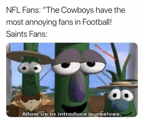 """Dallas Cowboys, Football, and Nfl: NFL Fans: """"The Cowboys have the  most annoying fans in Football!  Saints Fans:  Allow us to introduce ourselves"""