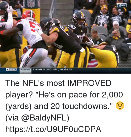 """Memes, Nfl, and 🤖: NFL  FANTASY  B. BORTLES [JAX): 24/41, 286 YDS, TD The NFL's most IMPROVED player?  """"He's on pace for 2,000 (yards) and 20 touchdowns."""" 😲(via @BaldyNFL) https://t.co/U9UF0uCDPA"""