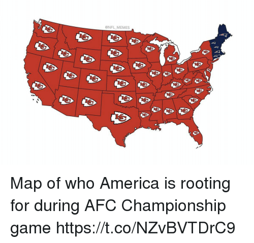 AFC Championship Game, America, and Memes: @NFL MEMES Map of who America is rooting for during AFC Championship game https://t.co/NZvBVTDrC9