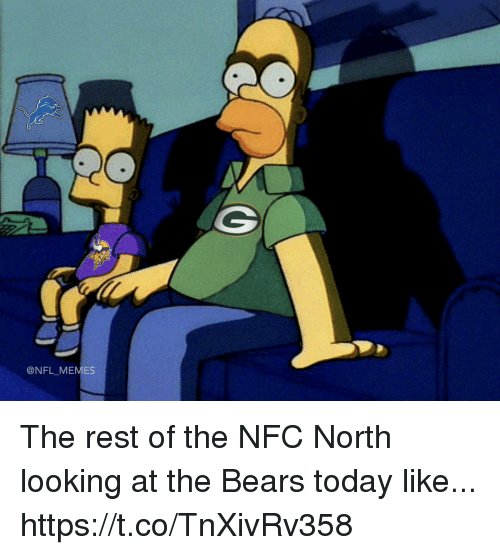 Football, Memes, and Nfl: @NFL MEMES The rest of the NFC North looking at the Bears today like... https://t.co/TnXivRv358