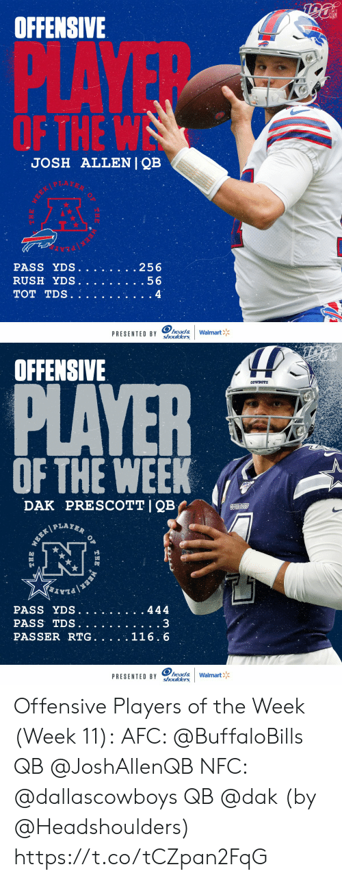 Josh: NFL  OFFENSIVE  PLAYE  OF THE W  JOSH ALLENI QB  .256  PASS YDS.  RUSH YDS.  .56  TOT TDS.  4  head&  shoulders  Walmart  PRESENTED BY  THE  EEK   OFFENSIVE  PLAYER  CowBOYS  OF THE WEEK  PRESCOTT I QB  DAK  COWBOS  PLAYER  WEEK  PASS YDS.  444  PASS TDS.  PASSER RTG. .  116.6  head&  shoulders  PRESENTED BY  Walmart  OF  THE  ERK  THE Offensive Players of the Week (Week 11):  AFC: @BuffaloBills QB @JoshAllenQB  NFC: @dallascowboys QB @dak    (by @Headshoulders) https://t.co/tCZpan2FqG