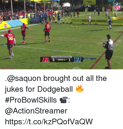 Dodgeball, Memes, and Nfl: NFL  OFPCIATING  EPIC Ph BONL DODGEBALL  PLAYERS REMAINING  SAQUON BARKLEY NYG  GAME 1 .@saquon brought out all the jukes for Dodgeball 🔥 #ProBowlSkills  📹: @ActionStreamer https://t.co/kzPQofVaQW