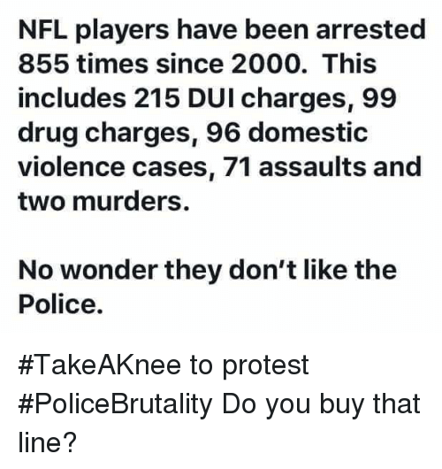 Memes, Nfl, and Police: NFL players have been arrested  855 times since 2000. This  includes 215 DUI charges, 99  drug charges, 96 domestic  violence cases, 71 assaults and  two murders.  No wonder they don't like the  Police. #TakeAKnee to protest #PoliceBrutality Do you buy that line?