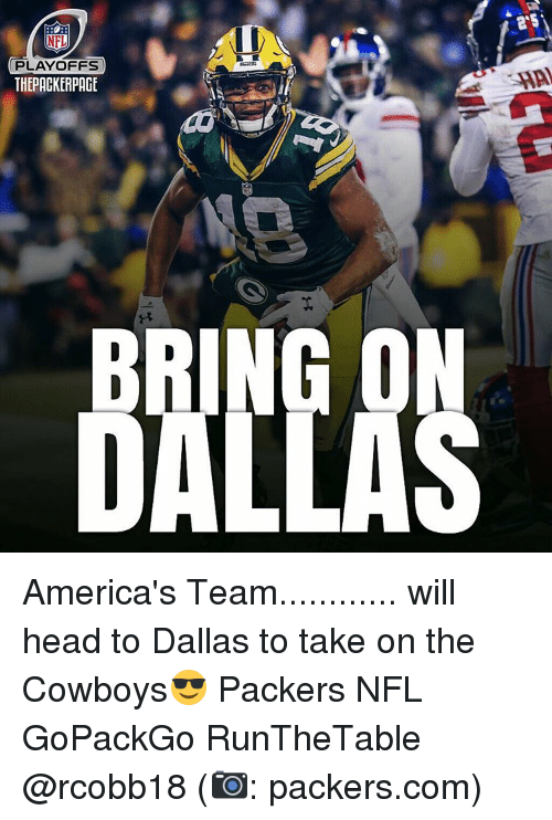 NFL playoffs: NFL  PLAYOFFS  THEPACKERPACE America's Team............ will head to Dallas to take on the Cowboys😎 Packers NFL GoPackGo RunTheTable @rcobb18 (📷: packers.com)