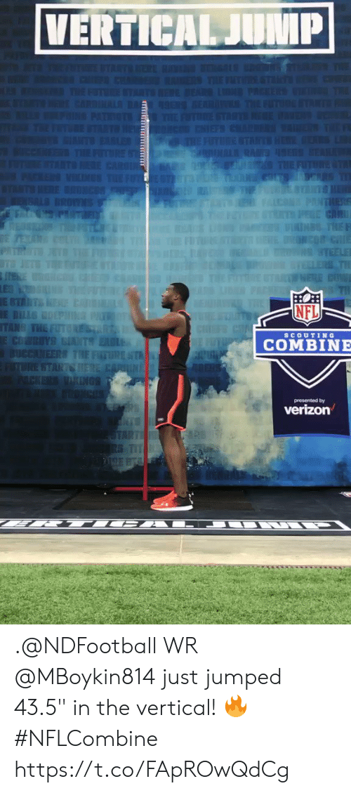 """Memes, Nfl, and Jumped: NFL  scoUTIN G  COMBINE  presented by .@NDFootball WR @MBoykin814 just jumped 43.5"""" in the vertical! 🔥 #NFLCombine https://t.co/FApROwQdCg"""