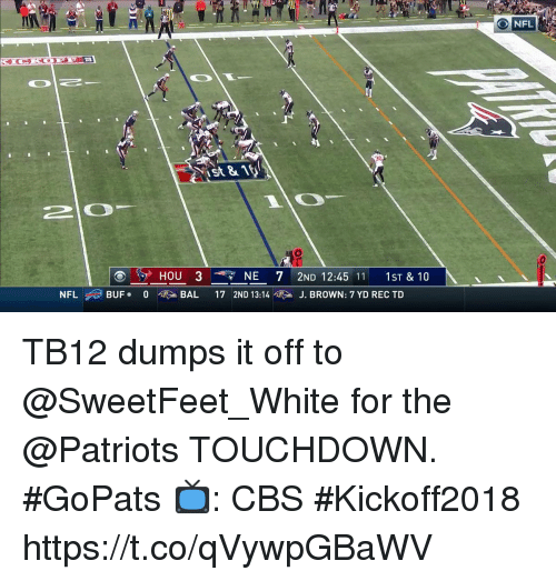 Memes, Nfl, and Patriotic: NFL  St81  20  HOU 3  NE 72ND 12:45 11 1ST& 10  NFL ,,) BUF.  0  硬>, BAL  17 2ND 13:14噬 > J. BROWN: 7 YD REC TD TB12 dumps it off to @SweetFeet_White for the @Patriots TOUCHDOWN. #GoPats  📺: CBS #Kickoff2018 https://t.co/qVywpGBaWV