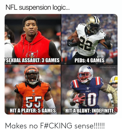 Logic, Nfl, and Games: NFL suspension logic  ...  PEDS: 4 GAMES  SEXUAL ASSAULT: 3 GAMES  @GhettoGronk  PALETS  LED  HITA PLAYER:5 GAMES  HITA BLUNT: INDEFINITE Makes no F#CKING sense!!!!!!