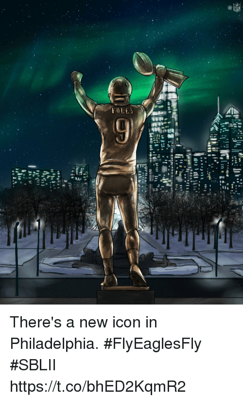 Memes, Nfl, and Philadelphia: NFL There's a new icon in Philadelphia. #FlyEaglesFly #SBLII https://t.co/bhED2KqmR2
