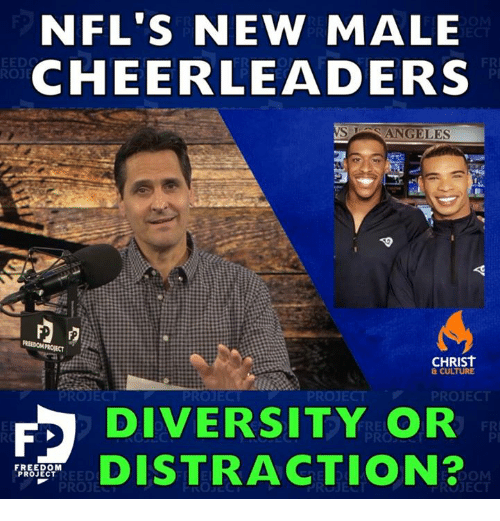 Diversity, Freedom, and Edi: NFL'S NEW MALE  CHEERLEADERS  SANGELES  CHRISt  & CULTURE  PROJ  PROJECT PROJECT  EDI DIVERSITY OR  DISTRACTION3  FREEDOM  PROJECT  REED  PROJE  DOM