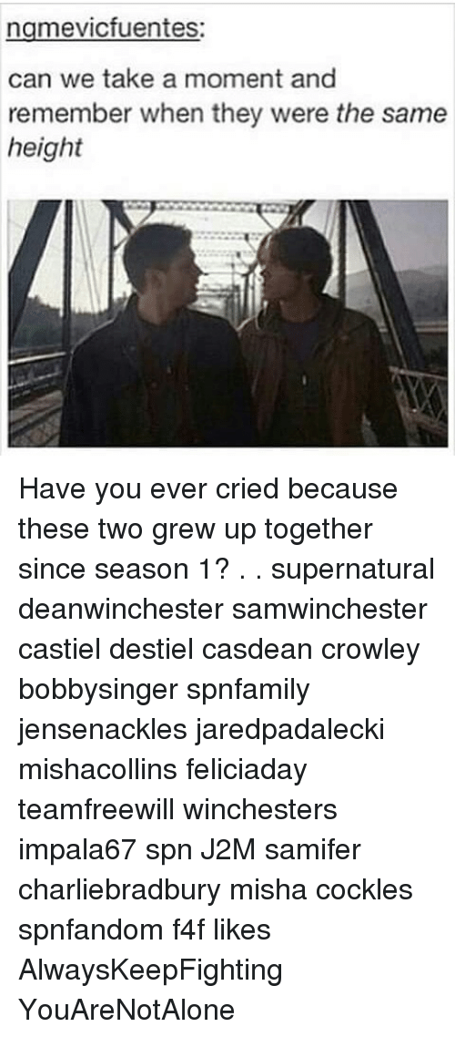 Cockle: ngmevicfuentes:  can we take a moment and  remember when they were the same  height Have you ever cried because these two grew up together since season 1? . . supernatural deanwinchester samwinchester castiel destiel casdean crowley bobbysinger spnfamily jensenackles jaredpadalecki mishacollins feliciaday teamfreewill winchesters impala67 spn J2M samifer charliebradbury misha cockles spnfandom f4f likes AlwaysKeepFighting YouAreNotAlone