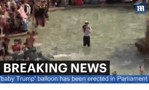 Memes, News, and Breaking News: ni  BREAKING NEWS  baby Trump' balloon has been erected in Parliament