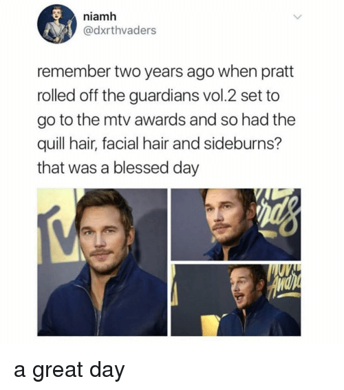 Blessed, Memes, and Mtv: niamh  @dxrthvaders  remember two years ago when pratt  rolled off the guardians vol.2 set to  go to the mtv awards and so had the  quill hair, facial hair and sideburns?  that was a blessed day a great day