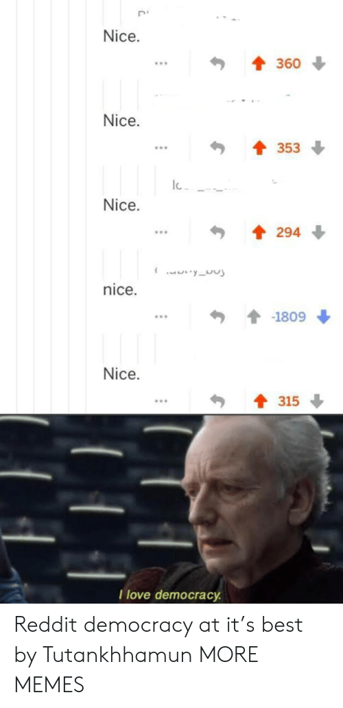 Democracy: Nice.  360  Nice.  353  Nice.  294  yu  nice.  -1809  Nice.  315  I love democracy Reddit democracy at it's best by Tutankhhamun MORE MEMES