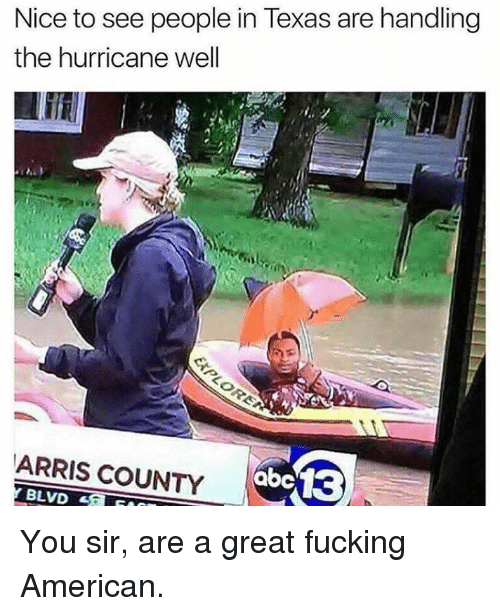 Fucking, Memes, and American: Nice to see people in Texas are handling  the hurricane well  ARRIS COUNTY  BLVD You sir, are a great fucking American.