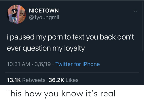 Iphone, Twitter, and Porn: NICETOWN  @1youngmil  i paused my porn to text you back don't  ever question my loyalty  10:31 AM 3/6/19 Twitter for iPhone  13.1K Retweets 36.2K Likes This how you know it's real
