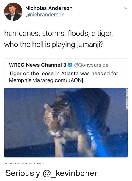 channeling: Nicholas Anderson  @nichranderson  hurricanes, storms, floods, a tiger,  who the hell is playing jumanji?  WREG News Channel 3 @3onyourside  Tiger on the loose in Atlanta was headed for  Memphis via.wreg.com/uAONj Seriously @_kevinboner