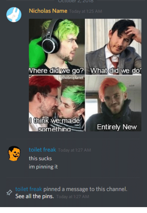 Today, All The, and Name: Nicholas Name  Today a  Where did we go? What did we do  broptanet  think we made  somethingEntirely New  toilet freak Today at 1:27 AM  this sucks  im pinning it  toilet freak pinned a message to this channel  See all the pins.  Today at 1:27 AM