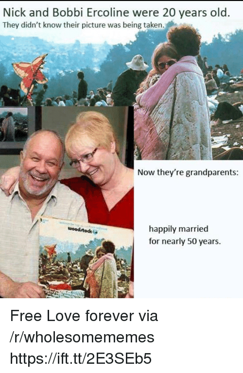 Love, Taken, and Forever: Nick and Bobbi Ercoline were 20 years old  They didn't know their picture was being taken.  Now they're grandparents  happily married  for nearly 50 years.  woodrtodke Free Love forever via /r/wholesomememes https://ift.tt/2E3SEb5