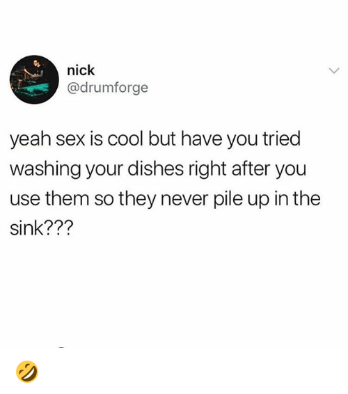 Memes, Sex, and Yeah: nick  @drumforge  yeah sex is cool but have you tried  washing your dishes right after you  use them so they never pile up in the  sink??? 🤣