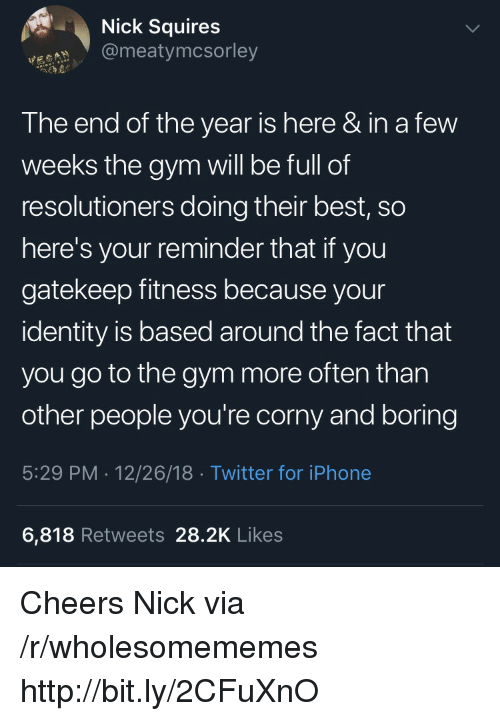 Gym, Iphone, and Twitter: Nick Squires  @meatymcsorley  The end of the year is here & in a few  weeks the gym will be full of  resolutioners doing their best, so  here's your reminder that if you  gatekeep fitness because your  identity is based around the fact that  you go to the gym more often than  other people you're corny and boring  5:29 PM . 12/26/18 Twitter for iPhone  6,818 Retweets 28.2K Likes Cheers Nick via /r/wholesomememes http://bit.ly/2CFuXnO
