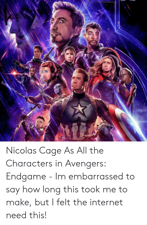 Internet, Nicolas Cage, and Avengers: Nicolas Cage As All the Characters in Avengers: Endgame - Im embarrassed to say how long this took me to make, but I felt the internet need this!