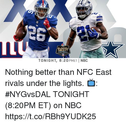 Memes, Rivals, and 🤖: NIGHT  TONIGHT, 8:20PMETİ NBC Nothing better than NFC East rivals under the lights.  📺: #NYGvsDAL TONIGHT (8:20PM ET) on NBC https://t.co/RBh9YUDK25