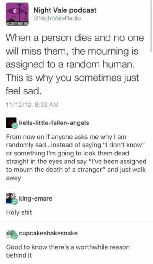 """Memes, Shit, and Angels: Night Vale podcast  @NightValeRadio  When a person dies and no one  will miss them, the mourning is  assigned to a random human  This is why you sometimes just  feel sad  11/12/12, 8:33 AM  hells-little-fallen-angels  From now on if anyone asks me why I am  randomly sad...instead of saying """"I don't know""""  or something I'm going to look them dead  straight in the eyes and say """"I've been assigned  to mourn the death of a stranger"""" and just walk  away  king-emare  Holy shit  cupcakeshakesnake  Good to know there's a worthwhile reason  behind it"""