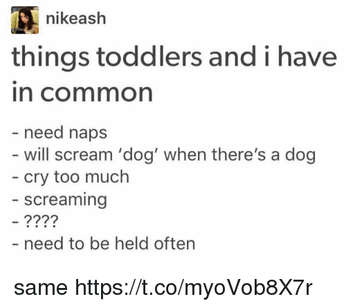 Scream, Too Much, and Common: nikeash  things toddlers and i have  in common  need naps  will scream 'dog' when there's a dog  cry too much  screaming  - need to be held often same https://t.co/myoVob8X7r