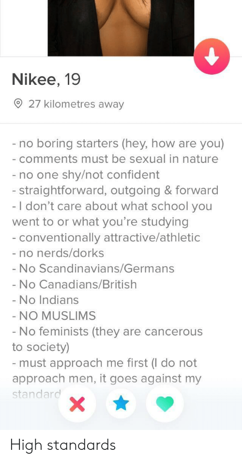Straightforward: Nikee, 19  27 kilometres away  no boring starters (hey, how are you)  comments must be sexual in nature  - no one shy/not confident  - straightforward, outgoing & forward  -I don't care about what school you  went to or what you're studying  conventionally attractive/athletic  - no nerds/dorks  - No Scandinavians/Germans  - No Canadians/British  No Indians  NO MUSLIMS  No feminists (they are cancerous  to society)  must approach me first (I do not  approach men, it goes against my  standard High standards