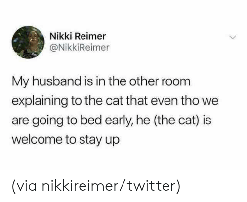 nikki: Nikki Reimer  @NikkiReimer  My husband is in the other room  explaining to the cat that even tho we  are going to bed early, he (the cat) is  welcome to stay up (via nikkireimer/twitter)