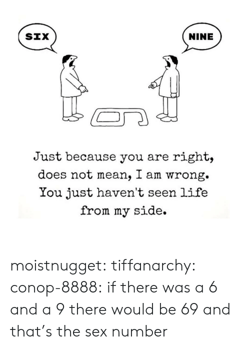 You Are Right: NINE  Just because you are right,  does not mean, I am wrong.  You just haven't seen life  from my side. moistnugget:  tiffanarchy:  conop-8888:  if there was a 6 and a 9 there would be 69 and that's the sex number