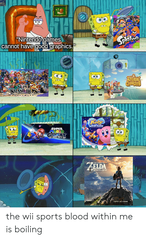 "Nintendo, Smashing, and Sports: ""Nintendo games  cannot have good graphics  Splakn  Animal  Crossing  SUPER  SMASH BRS  BtarAes  SUPER  GANAY  7ELDA  ВКER ГHу  +  19aL:A the wii sports blood within me is boiling"