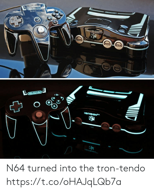 n64: Nintendo  NTEX  Nintendo  NTEDO  CG N64 turned into the tron-tendo https://t.co/oHAJqLQb7a