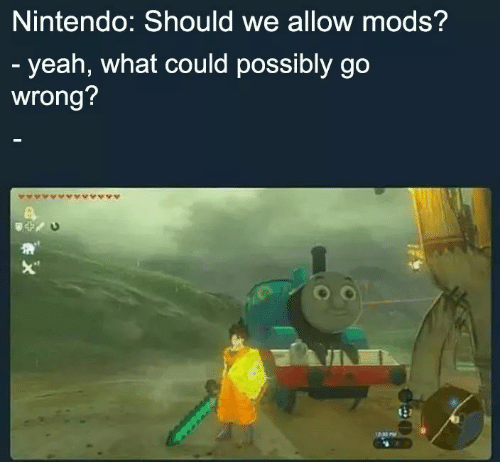 """Nintendo, Yeah, and Mods: Nintendo: Should we allow mods?  - yeah, what could possibly go  wrong?  X"""""""