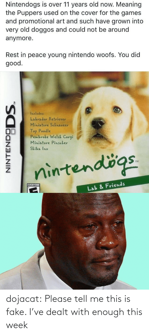 dealt: Nintendogs is over 11 years old now. Meaning  the Puppers used on the cover for the games  and promotional art and such have grown into  very old doggos and could not be around  anymore.  Rest in peace young nintendo woofs. You did  good.  Includes:  Labrador Retriever  Miniature SchnAuzer  Toy Poodle  Pembroke Welsh Corgi  Miniature Pinscher  Skiba Inu  nintendögs.  EVERYONE  Lab & Friends  NINTENDO  DODS. dojacat:  Please tell me this is fake. I've dealt with enough this week