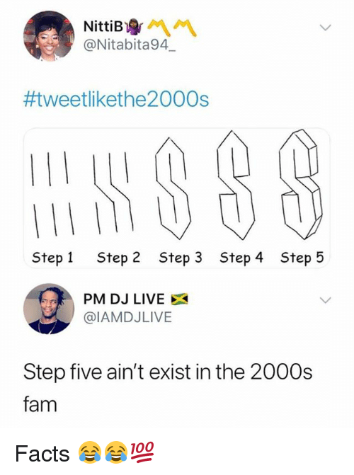 Facts, Fam, and Memes: @Nitabita94  #tweetlikethe2000s  Step 1  Step 2  Step 3  Step 4  Step 5  PM DJ LIVE X  @IAMDJLIVE  Step five ain't exist in the 2000s  fam Facts 😂😂💯