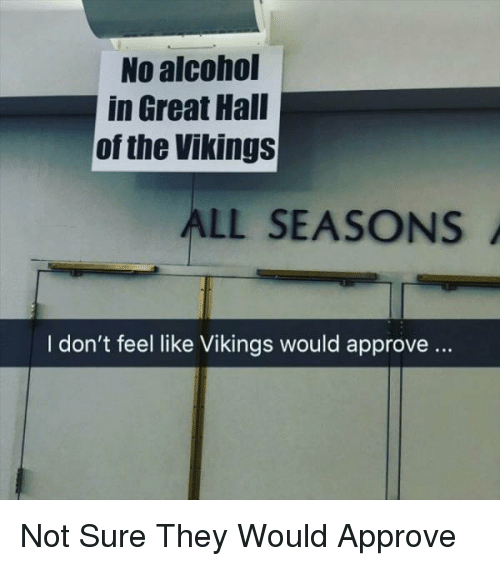 the vikings: No alcohol  in Great Hall  of the Vikings  ALL SEASONS  I don't feel like Vikings would approve.. Not Sure They Would Approve
