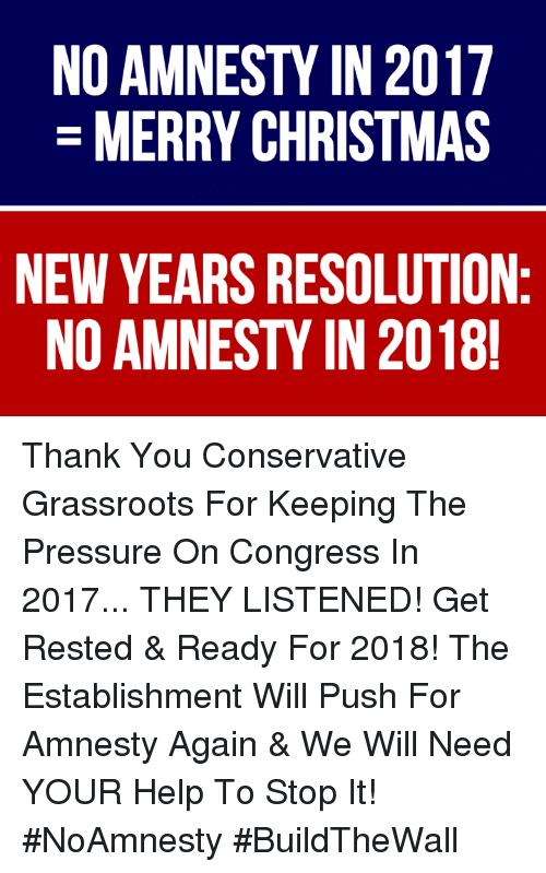 Christmas, Memes, and Pressure: NO AMNESTY IN 2017  MERRY CHRISTMAS  NEW YEARS RESOLUTION  NO AMNESTY IN 2018 Thank You Conservative Grassroots For Keeping The Pressure On Congress In 2017... THEY LISTENED!  Get Rested & Ready For 2018! The Establishment Will Push For Amnesty Again & We Will Need YOUR Help To Stop It! #NoAmnesty #BuildTheWall