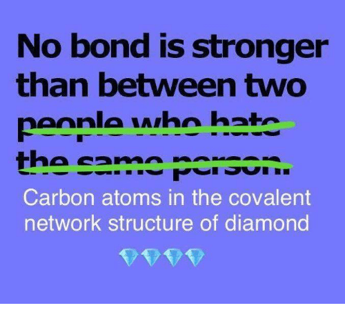 Memes, Diamond, and 🤖: No bond is stronger  than between two  peonle who hatc  Carbon atoms in the covalent  network structure of diamond