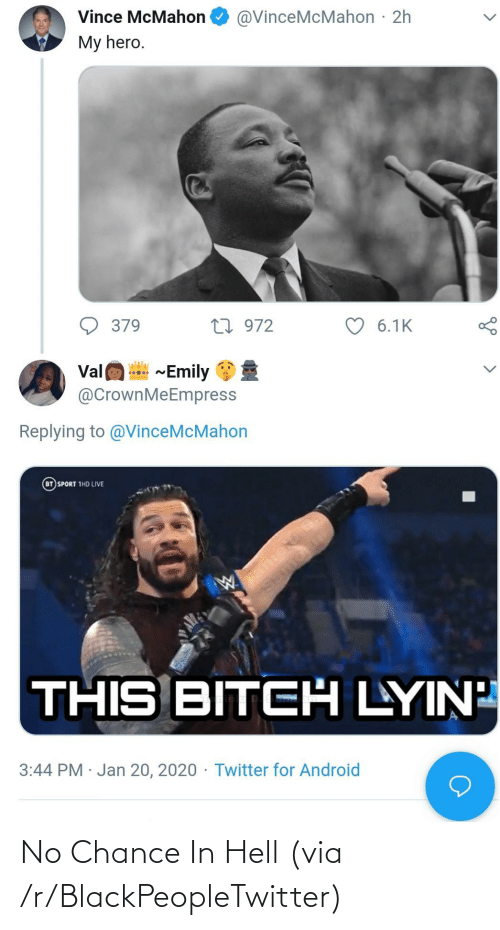 Blackpeopletwitter, Hell, and Via: No Chance In Hell (via /r/BlackPeopleTwitter)