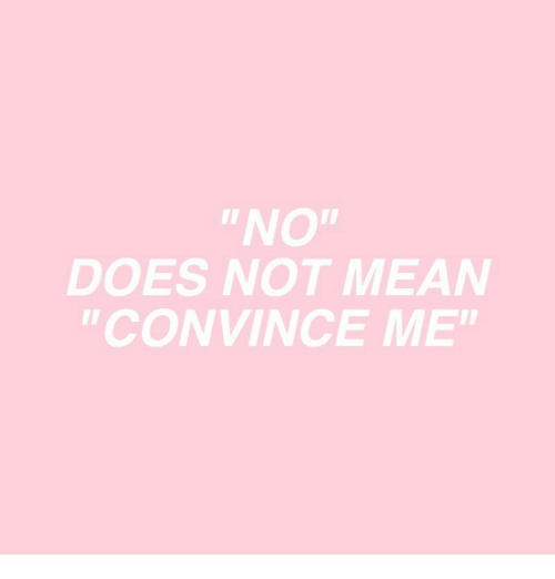 "Mean,  No, and Not: ""NO""  DOES NOT MEAN  ""CONVINCE ME"""