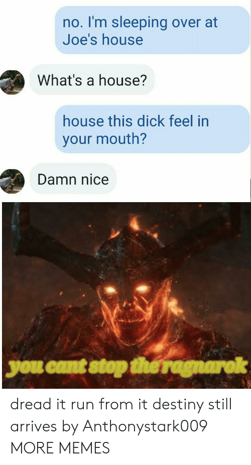 Stop The: no. I'm sleeping over at  Joe's house  What's a house?  house this dick feel in  your mouth?  Damn nice  you cant stop the ragnarok dread it run from it destiny still arrives by Anthonystark009 MORE MEMES