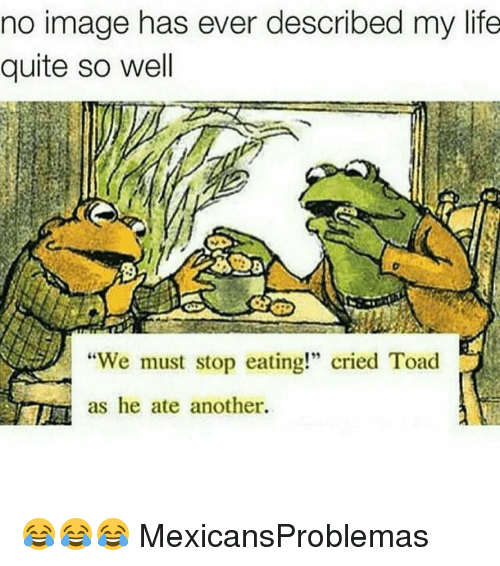 """Toade: no image has ever described my life  quite so well  """"We must stop eating!"""" cried Toad  as he ate another. 😂😂😂 MexicansProblemas"""